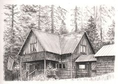 cabin drawing. pencil drawing of wilsonia cabin