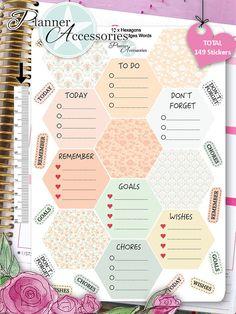 Sticker Hexagons Erin Condren Happy Planner von EmelysPlannerShop