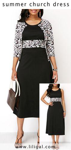 High Waist Black Dress And Printed Cardigan #liligal #dresses #womenswear #womensfashion