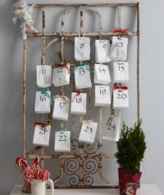 Advent bags on a gate.