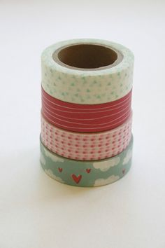Washi Tape Set - 15mm - Combination CV - Pink and Blue Clouds - Four Rolls Washi Tape.   11.75, via Etsy.
