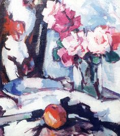 The Athenaeum - Roses and Fan (Samuel John Peploe - )
