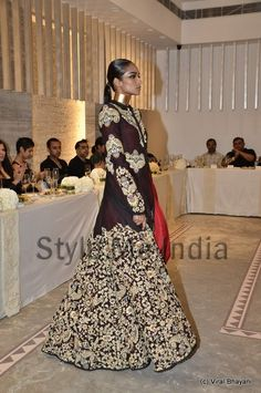 Anamika Khanna 's navy and silver jacketed lengha