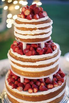 strawberry shortcake wedding cake    this person was a GENIUS