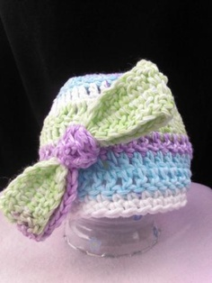 Pastel Bow Baby Beanie by sisterzcrochetnknit for $11.00