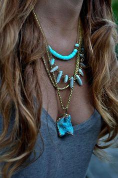 Natural Aqua Blue OPAL necklace
