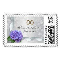 Hydrangea personalized stamp for invitation