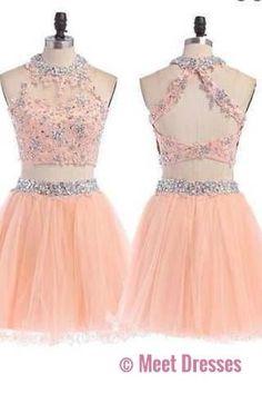 Peach Homecoming dress, 2 pieces homecoming dress, short homecoming dress PM897