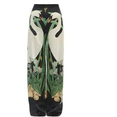 Adriana Degreas Swan-print wide-leg silk trousers (3.270 DKK) ❤ liked on Polyvore featuring pants, trousers, bottoms, skirts, black multi, silk wide leg trousers, flat-front pants, wide leg print pants, patterned trousers and print pants