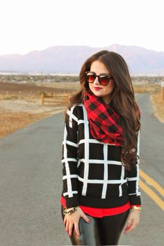 Month of Diamond | Red Buffalo Check Scarf | Pebby Forevee Scarf
