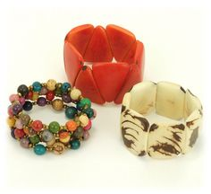 Hand crafted with sustainably harvested tagua or acai nuts. Beautiful, bold, & fun accessories. Fair trade.