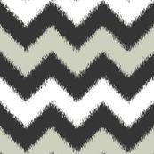 Ikat Chevron in Black, White and Gray - fridabarlow - Spoonflower