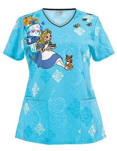 Alice in Wonderland scrub top! medicalscrubsmall.com