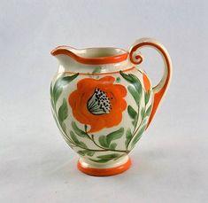 Erphila Poppy Creamer Pitcher Arts and Crafts Czechoslovakian