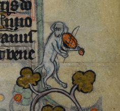 musical dog     'The Maastricht Hours', Liège 14th century.  British Library, Stowe 17, fol. 172r