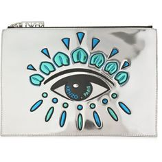 Kenzo Eye Clutch Bag ($170) ❤ liked on Polyvore featuring bags, handbags, clutches, silver, real leather purses, metallic leather purse, kenzo handbags, neon handbags and 100 leather handbags