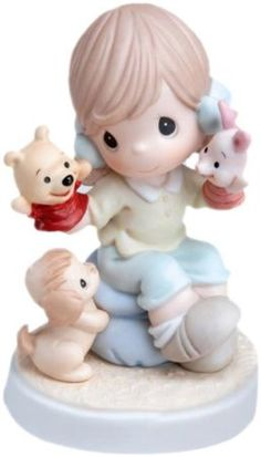 Precious Moments Disney Collection, It's So Much More Friendly With Two Precious Moments Dolls, Disney Figurines, Collectible Figurines, Pooh Bear, Disney Love, Disney Stuff, Disney Art, Disney Treasures, Eeyore