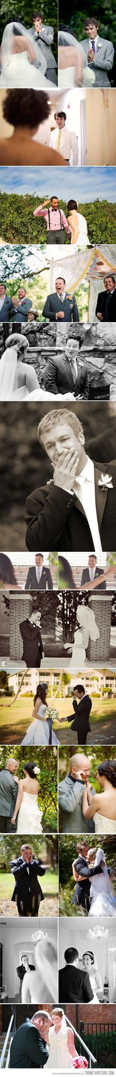 Grooms blown away by their beautiful brides…