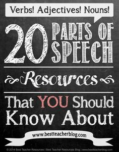 "FREE - 20 Parts of Speech Resources That You Should Know About .....Follow for Free ""too-neat-not-to-keep"" teaching tools & other fun stuff :) 