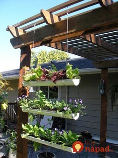 Garden & Landscaping : Inspiring small garden gutter garden design with crops by using the pipe cut in half and made hanging to utilize the narrow space picture - a part of Design A Small Place To Grow A Variety Of Plants That Easily Treated Diy Garden, Dream Garden, Garden Projects, Garden Landscaping, Home And Garden, Diy Projects, Recycled Garden, Garden Oasis, Garden Pond