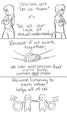 ((click for full comic)) Sexism goes both ways. Feminism helps both. This strip is straightforward yet powerful. #heforshe