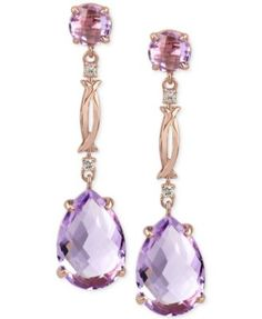 Rose Amethyst (13 ct. t.w.) and Diamond Accent Drop Earrings in 14k Rose Gold | ☆€833.32☆