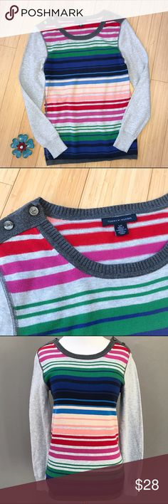 TOMMY HILFIGER sweater, S. Happiness in a sweater! Tommy Hilfiger rainbow and gray sweater, size small. Accent buttons at shoulders, bust is 16.5 inches and stretchy, length is 25 inches, material is 100% cotton, machine wash OK.  A fun and colorful accent to a classic wardrobe! Tommy Hilfiger Sweaters Crew & Scoop Necks