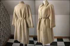 70s SILLS BONNIE CASHIN Mohair Wool Coat, Leather Collar Cuffs Front Placket & Belt, Brass Turn Toggle Closures, Gold Tone Metal Belt Loops