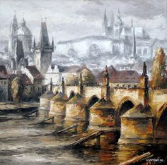 Charles Bridge, View Image, Prague, Worlds Largest, Past, Fine Art, Canvas, Artist, Painting