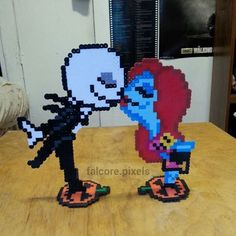 Jack and Sally perler beads by falcore.pixels