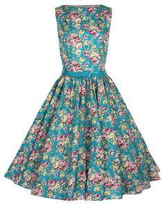 Blomstret 50'er-kjole (turkis)
