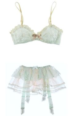 Mint lace and pale-pink tulle tiered garter belt. Agent Provocateur garter belt has an elasticated waist, a satin bow detail at front, wide ruched twill suspender straps and button fastenings at back. Sexy Lingerie, Lingerie Vintage, Pretty Lingerie, Bridal Lingerie, Luxury Lingerie, Beautiful Lingerie, Lingerie Sleepwear, Lingerie Underwear, Lingerie Mignonne