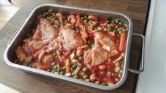 Hähnchenflügel + Gemüse + Tomatensoße
