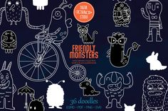 Monster Hands, Bicycle Illustration, Monster Drawing, Sea Creatures, Design Bundles, How To Draw Hands, Doodles, Die Cut Machines, Doodle