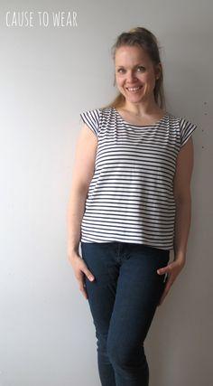 DIY jersey breton stripe top from old men's tee.