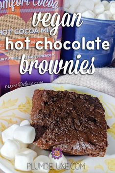 These vegan hot chocolate brownies don't need to be fancy to be decadent! Made with our vegan, dairy-free Comfort Cocoa, they pair best with teatime. #brownierecipes #veganbrownies #dairyfreebrownies