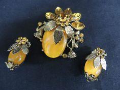 Vintage Designer Rhinestone Pin Brooch Earring Set Demi Parure Orange Gold Fall | eBay