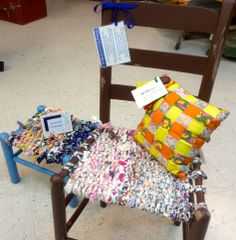 Woven chairs, stools, & pillows, now at Durham Craft Market on Saturday mornings!