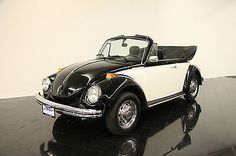 1975 VW Beetle Attractive Two-Tone Black/White over Blue! Carbureted 4-Speed!