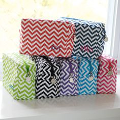 Fashioned in a contemporary chevron print of vibrant colors and crisp whites, these microfiber Personalized Chevron Stripe Cosmetic Bag are as easy to clean as they are easy to love.  Personalized just for you!