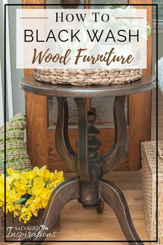 Black Wash Wood Furniture SideTable Restyle is part of Diy furniture - How To Black Wash Wood Furniture for a beautiful stained look without using stain! Furniture Fix, Black Furniture, Refurbished Furniture, Repurposed Furniture, Furniture Projects, Furniture Makeover, Chalk Painted Furniture, Rustic Painted Furniture, Redoing Furniture