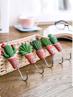 GBP - Cactus Wall Hanging Hook Hanger Single Stainless Steel Aloe Home Kitchen Decor & Garden Adhesive Wall Hooks, Biscuit, Cactus Decor, Pasta Flexible, Wall Hanger, Inspired Homes, Succulents, Succulent Plants, Polymer Clay