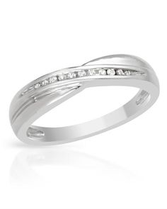 Channel ring. Genuine diamonds and white gold.