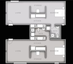 Container Housing Plan. The living area will open out into the central courtyard in the center of the complex via double French windows. These large windows will also allow plenty of natural daylight to enter the home, making it appear more spacious and open. The apartments will also offer plenty of storage along one side of the central corridor.