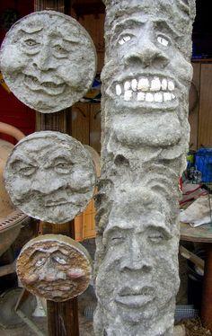 Low Rent Renaissance: Moons, faces, totem pole Cement Art, Concrete Art, Concrete Projects, Concrete Stone, Concrete Garden, Papercrete Recipe, Plaster Caster, Concrete Sculpture, Sculpture Art