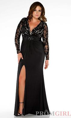 Long V-Neck Long Sleeve Gown Sizes 14w to 30w