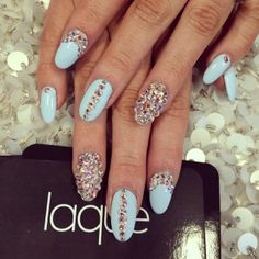 Icy Blue Almond Nail Art