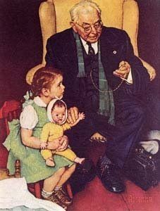 Norman Rockwell - Doctor and doll. Norman Rockwell- a favorite artist. Norman Rockwell Prints, Norman Rockwell Paintings, Illustrations Vintage, Illustration Art, Magazine Illustration, Peintures Norman Rockwell, Rockwell Kent, Retro, The Saturdays