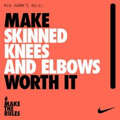 Mia Hamm has been at the heart of US Women's Soccer for 25 years. She's scored more international goals to date than anyone. Ever. #nike #maketherules