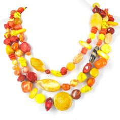 Golden Sunset #Necklace 3 strand 58cm #KIT - Necklace #Gemstone : #Bead Inspired Projects : #Beads #Jewellery Pearls Swarovski #Beading Supplies 925 Silver http://www.beadthemup.com.au/estore/style/sunset%20n8kit.aspx